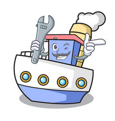 mechanic ship mascot cartoon style vector image