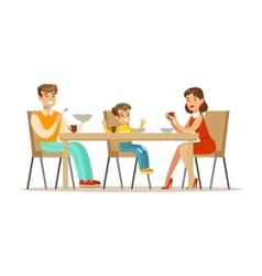 Mom Dad And Son Having Breakfast Happy Family vector image