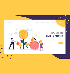 Money profit grow business landing page investment vector
