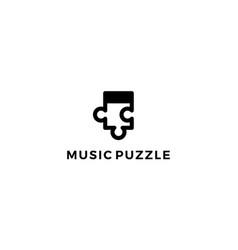 music puzzle logo design concept vector image