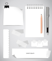 Note book and note papers Business working vector