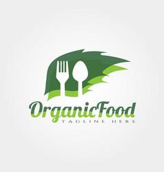 Organic food logo design vector
