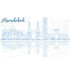 Outline Ahmedabad Skyline with Blue Buildings vector