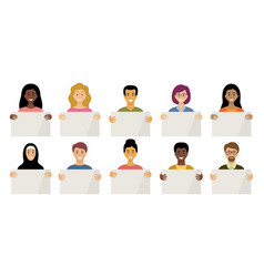people different nationalities are holding vector image