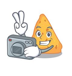 Photographer nachos mascot cartoon style vector