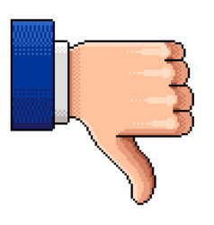 pixel thumb down dislike isolated vector image