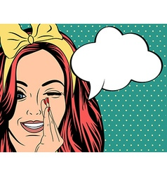 Pop Art of girl with the speech bubble vector