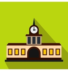 Railway station building icon flat style vector image