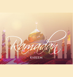 ramadan kareem watercolor card vector image