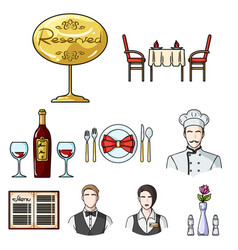 Restaurant set icons in cartoon style big vector