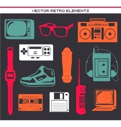 Retro 80 vintage elements set vector
