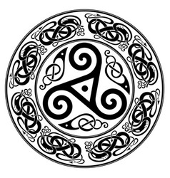 round celtic design triskele and celtic pattern vector image