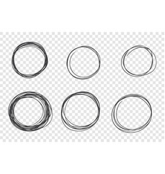 round hand drawn scribble frames set vector image