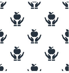 seamless apple on hand pattern education symbol vector image