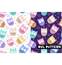 seamless childish pattern with funny owl animals vector image