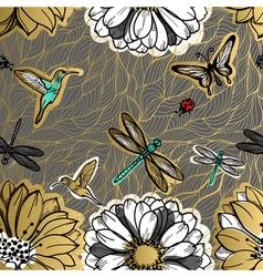 Seamless pattern flowers butterflies hummingbirds vector