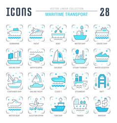 Set blue line icons maritime transport vector