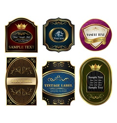 Set colored gold framed labels vector