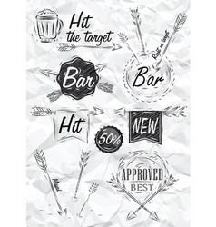 Set emblem of bar boom arrow crumpled paper vector