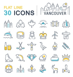Set flat line icons vancouver and canada vector