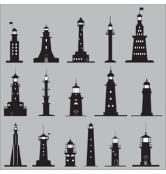 set icons lighthouses vector image