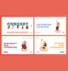 set landing pages symphony orchestra playing vector image