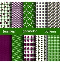 Set of 6 seamless geometric patterns vector image