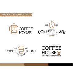 set of coffee and tea logo vector image