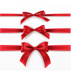 set red bow and ribbon on white background vector image
