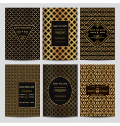 Set wedding invitation cards - art deco style vector