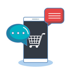 Shopping online with smartphone digital internet vector