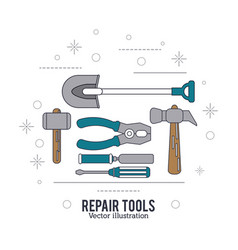 Shovel hammer screwdriver spatula pliers tool icon vector