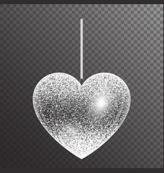 Silver heart with sparkles vector