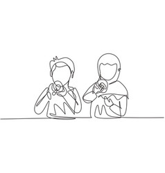 Single one line drawing two arabian boy and girl vector