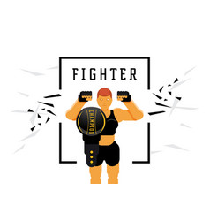 skinhead woman fighter with championship title vector image
