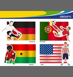 Soccer football players Brazil 2014 group G vector image