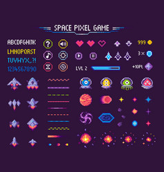 Space pixel game icons font and cosmic characters vector