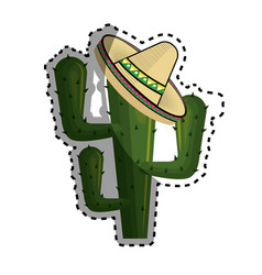 Sticker cactus with mexican hat with thorns vector