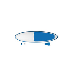 surfing board with paddle isolated sup surfboard vector image