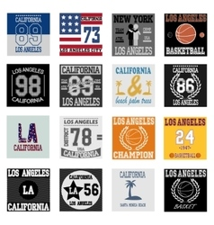 T-shirt graphic design Los Angeles set vector image