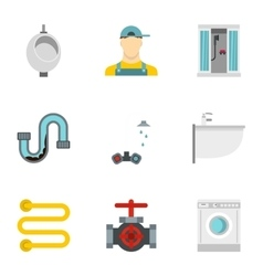 Toilet icons set flat style vector