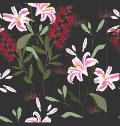 tropical plants royal lilies flowers and leaves vector image