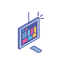 tv screen and and remote control in white vector image