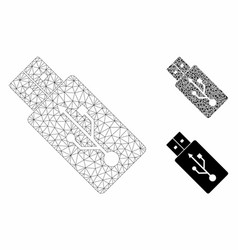 Usb drive mesh 2d model and triangle mosaic vector