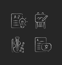 Variety of subjects in school chalk white icons vector