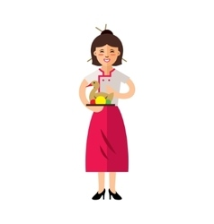 Waitress with Peking Duck Flat style vector