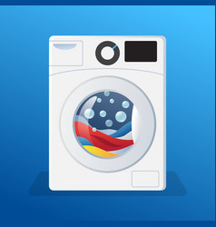 Washing machine sticker washer with clothes vector