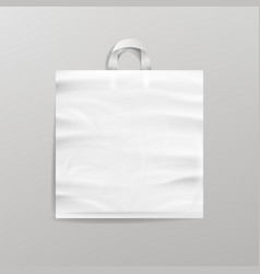 White empty reusable plastic shopping bag vector
