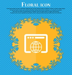 Window icon sign Floral flat design on a blue vector image