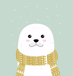 Winter card with cute seal vector